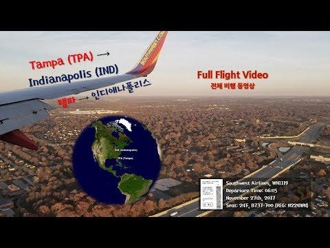 탬파-인디애나폴리스 (TPA-IND), 사우스웨스트 항공 (WN1119), 전체비행영상