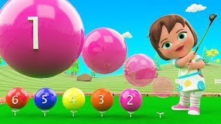 Learn Colors & Numbers for Children with Little Baby Girl Fun Play Golf Color Balls Numbers 3D Kids