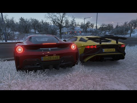 Lamborghini Aventador SV vs Ferrari 488 Pista – Forza Horizon 4 Drag Race