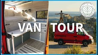 VAN TOUR - DIY Camper van / Studio Conversion (New bed and table ideas for short wheelbase van)