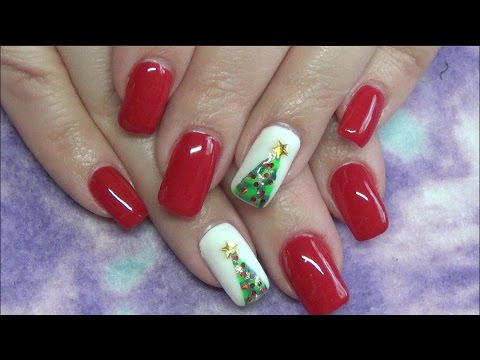 Christmas Tree Gel Nails 2016 Polish Glitter Dotting Tool Beanana711