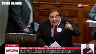 Yonhy Lescano se enfrenta a Fuerza Popular en debate sobre proyecto de ley de bancada mixta