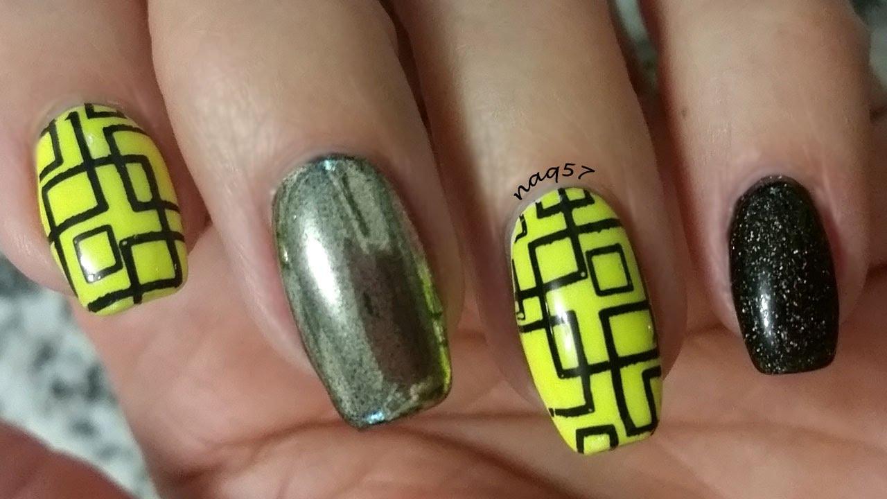 Neon yellow, silver chrome and holo black glitter nail design ...