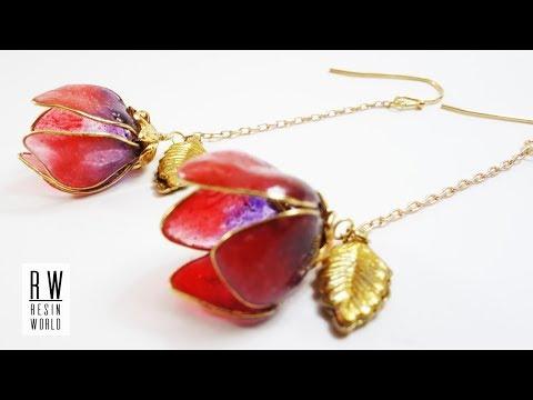 ドロップフラワーイヤリング DIY Drop Flower Resin Earrings【UVレジンアクセサリー Resin Jewelry】