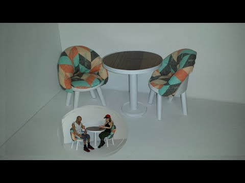 How to make Doll Round Table and Chairs