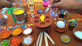 Miniature Egg Paniyaram   Miniature Cooking   Egg Paniyaram Recipe   Mini Food