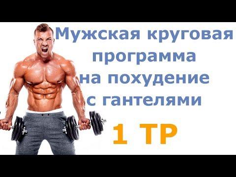 Мужская круговая программа на похудение с гантелями (1 тр)