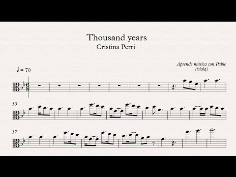 THOUSAND YEARS: Viola partitura con playback