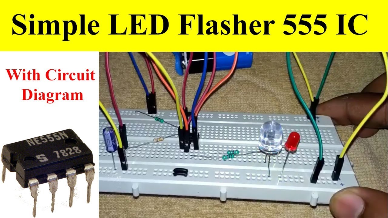 how to make flashing led using 555 timer ic with circuit diagram mr dhakad [ 1280 x 720 Pixel ]