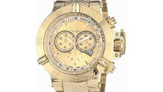 invicta men s 14500 subaqua noma iii chronograph gold dial 18k gold ion plated stainless steel watch