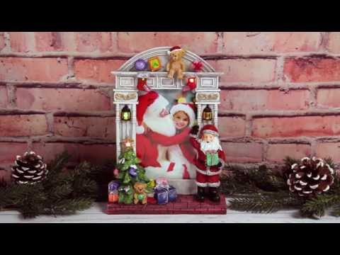 """Light Up 4"""" x 6"""" Christmas Santa Claus Resin Picture Frame"""