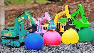 Surprise Water balloons have mini construction vehicles inside | excavator , dump truck