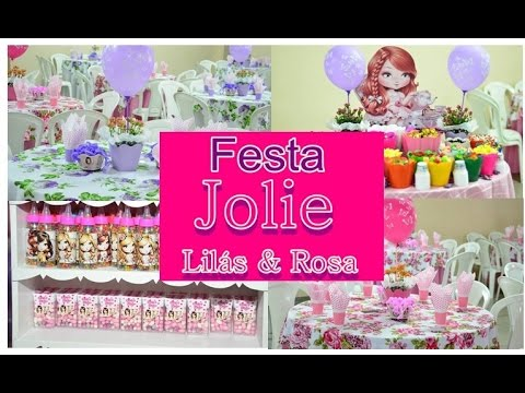 Ideias para festa infantil Jolie rosa e lilás