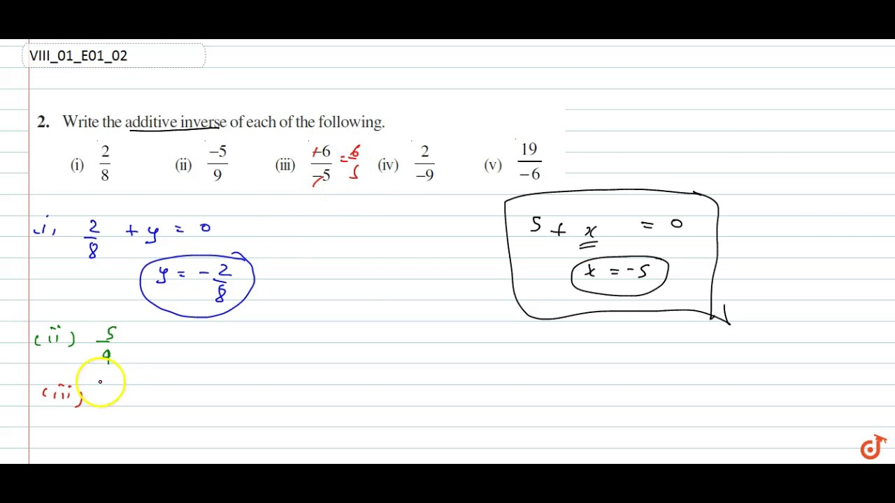 NCERT | Class VIII | RATIONAL NUMBERS | Exercise 1 | Question No  2
