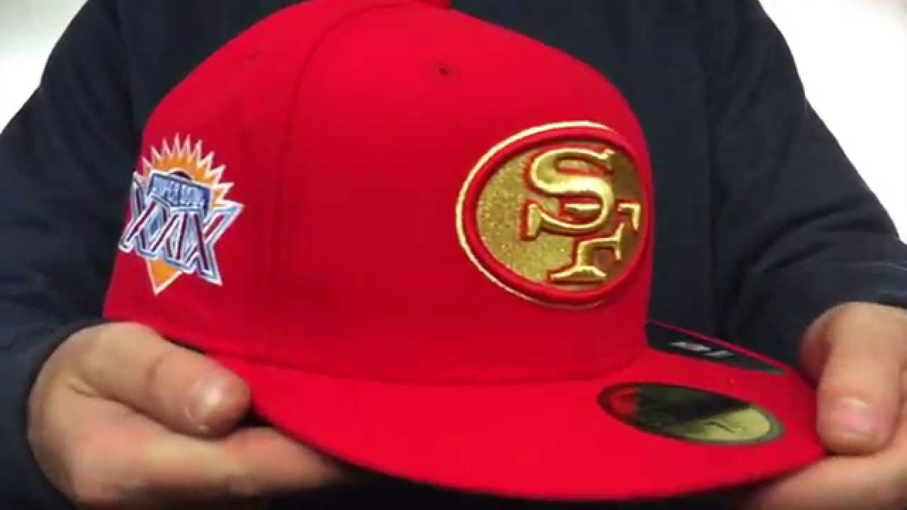 49ers  SUPER BOWL XXIX GOLD-50  Red Fitted Hat by New Era - YouTube e26be563102