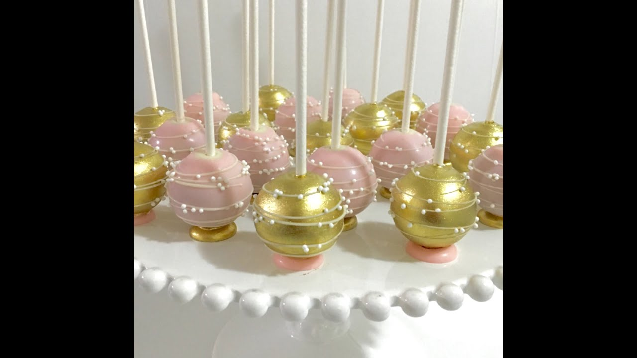 Upside Down Pink Amp Gold Cakepops With Flat Bottom Base And