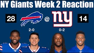 NY Giants Week 2 Reaction (Time to panic?)