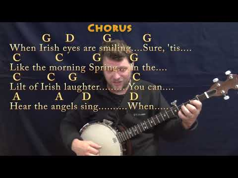 When Irish Eyes Are Smiling (Traditional) Banjo Cover Lesson in G with Chords/Lyrics