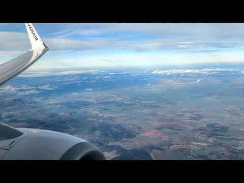 Approach and Landing in Prague Airport. Boeing 737-800 Flight FR1013