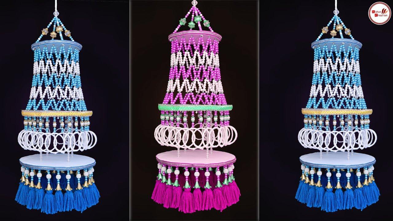 Download Amazing Bangles Jhumar Making || DIY Woolen Wall Hanging Craft || Handmade Home Decorating Idea