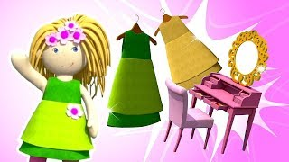 Bebé de dibujos animados: Una casa de muñecas y una muñeca vestidor