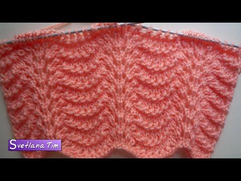 Вязание спицами волнистый узор видео