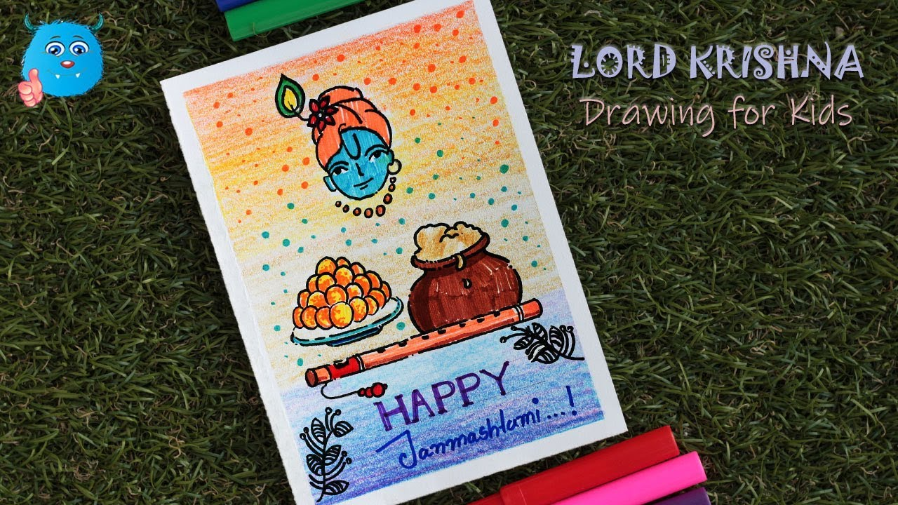 How To Draw Krishna Janmashtami Easy Drawing Idea For Greeting Card