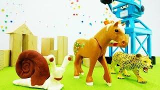 Развивающее видео для детей. История с животными и подъёмным краном