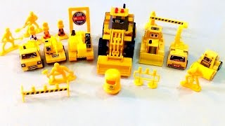CONSTRUCTION VEHICLES - Toy Trucks For Children, Bulldozer Road-Roller Crane Garbage Backhoe Digger