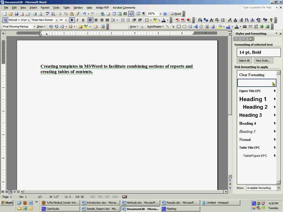 Microsoft Word 2003 Styles And Formatting YouTube