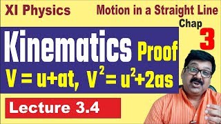 3.4, Kinematics equations proof, deriving kinematics equations, kinematics in Hindi, arvind academy,