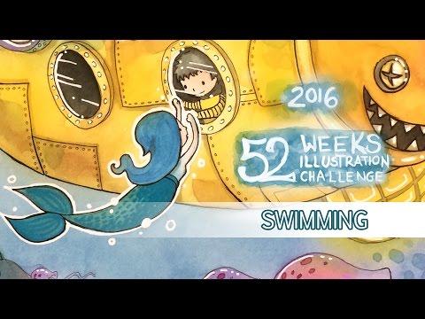 Swimming - Watercolor Speedpaint (52 Weeks Illustration Challenge - week04)