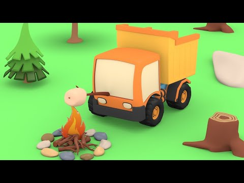 Tiny Trucks - The Forest Camping - Kids Animation with Street Vehicles Bulldozer, Excavator,Crane