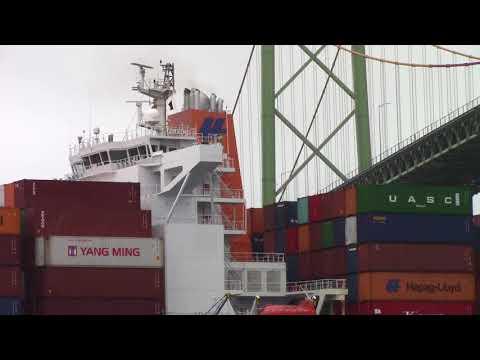 Container Ship PALENA Inbound Halifax, NS - Under MacKay Bridge (Sept 7, 2017)