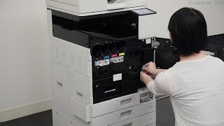 Removing the packing materials from inside the machine and installing ink tanks (WG7000 Series)