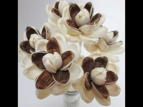 Brown Magnolia Lotus Handmade Dry Flower Sola Wood Reed Diffuser Crafted Decor DIY Wholesale #SW019