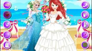 Мультик игра Принцессы Диснея: Эльза на свадьбе Ариэль (Elsa at Ariel Wedding)