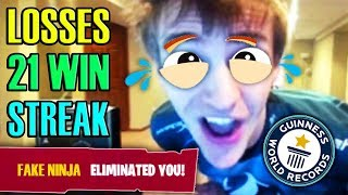 NINJA LOSES 21 WIN STREAK! World Record! Fortnite Funny Moments & Twitch Highlights