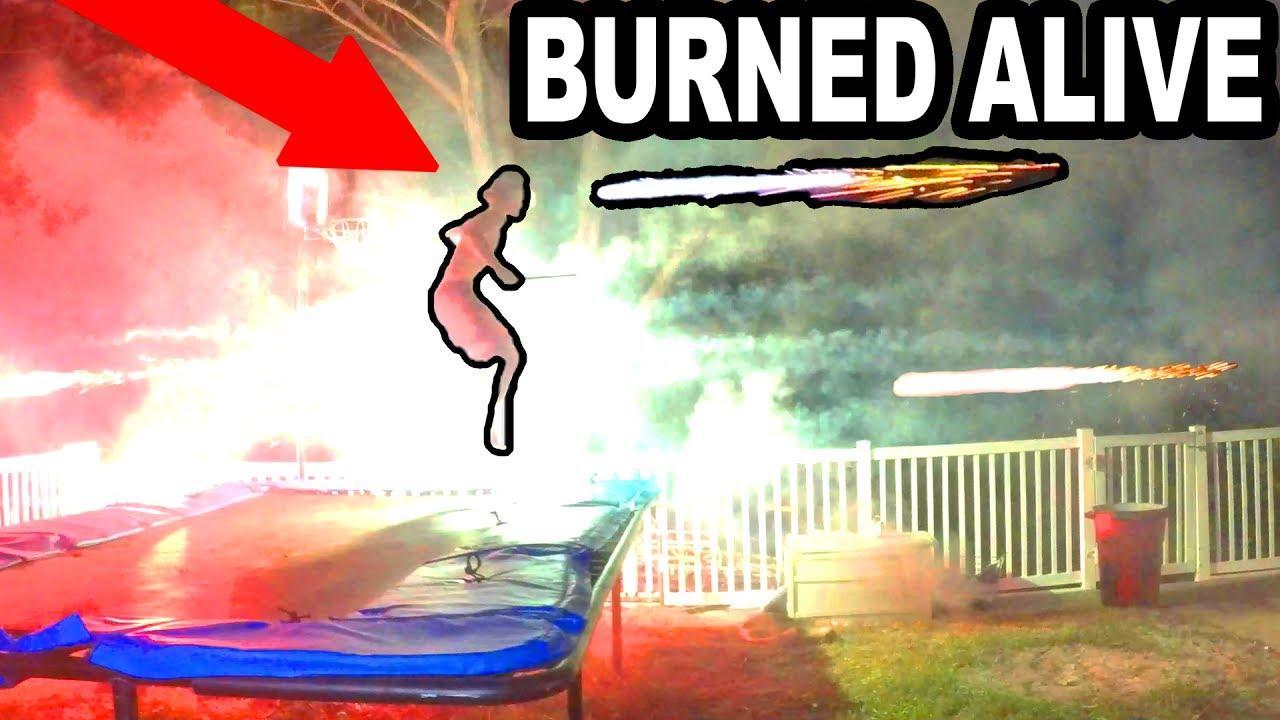 TRAMPOLINE VS FIREWORKS!! GONE TERRIBLY WRONG!! | JOOGSQUAD PPJT - TRAMPOLINE VS FIREWORKS!! GONE TERRIBLY WRONG!! | JOOGSQUAD PPJT