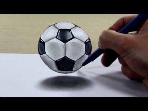 3D Trick Art on Paper Soccer ball