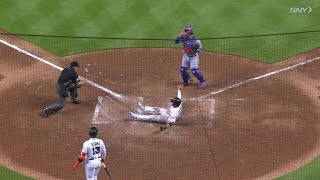 NYM@MIA: Conforto makes great throw home, call stands 2017 Video