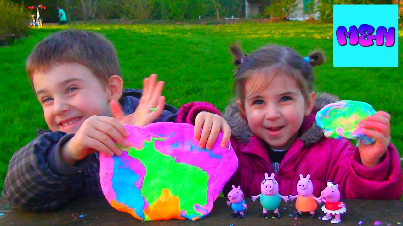 ტყლარწი ჩელენჯი მათე და ნინა თამაშობენ ფერადი ტყლარწებით პეპა გოჭი Peppa pig slime