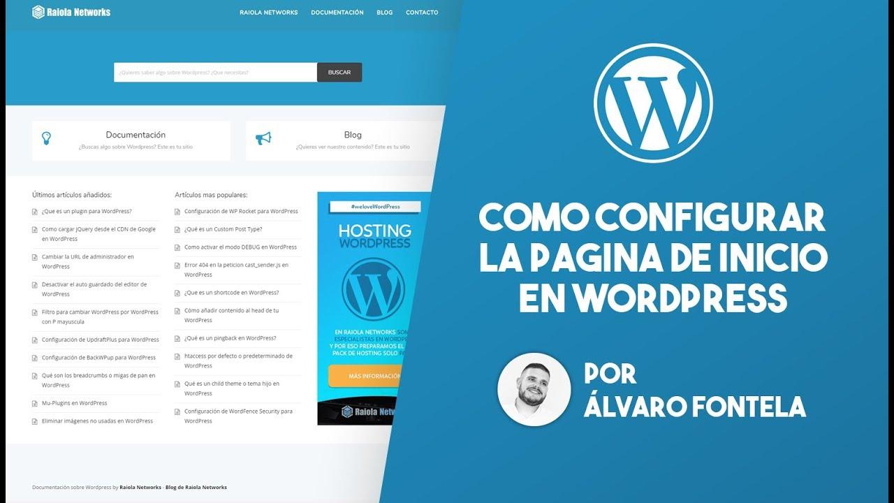 Como configurar la pagina de inicio en WordPress sin plugins - YouTube