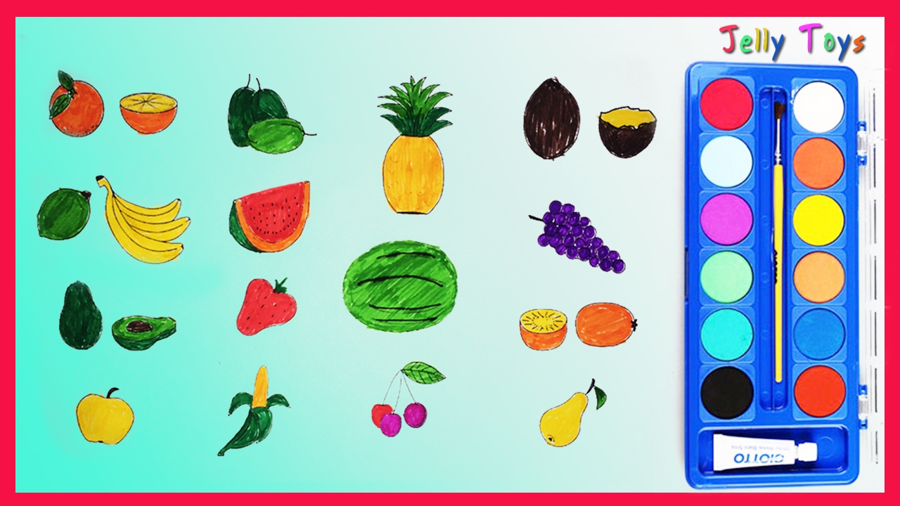 Coloring Vegetables game and Learning Fruits whit Watercolor ...