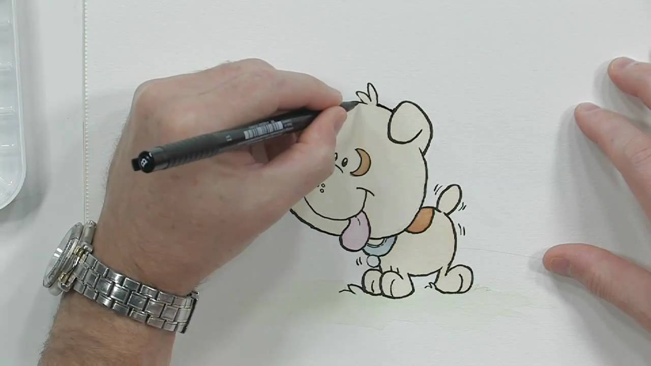 How to Color a Cartoon Puppy Using Marie\'s Watercolors and a Brush ...