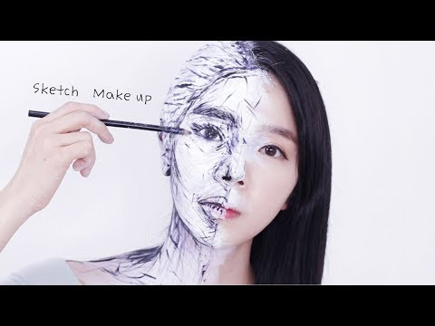 초간단 재료로 쉬운 스케치 메이크업 튜토리얼 틱톡에서 난리남!!  Sketch Optical Illusion Make up Tutorial | PURE.D 퓨어디 thumbnail