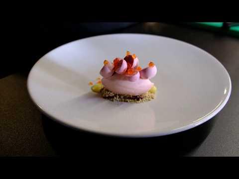 A Michelin star prepared strawberry dessert in 4k