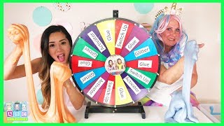 Sparkles the Unicorn Plays GIANT Mystery Wheel 3 Colors of Slime Glue Switch Up Challenge