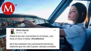 #LadyBomba, supuesta piloto propone lanzar bomba al Zócalo