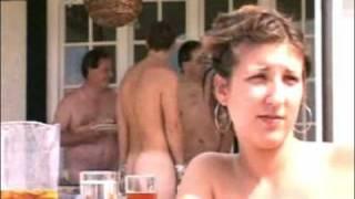 Streaker on the field.....in a nudist colony !